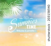 summer seaside view poster with ... | Shutterstock .eps vector #203158540