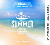 summer seaside view poster with ... | Shutterstock .eps vector #203158558