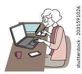 senior businesswoman working at ... | Shutterstock .eps vector #2031591026