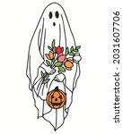 ghost pumpkin flower halloween. ... | Shutterstock .eps vector #2031607706