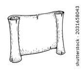 hand drawn paper scroll... | Shutterstock .eps vector #2031658043