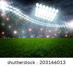 soccer ball on green stadium... | Shutterstock . vector #203166013