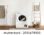 washing machine in a minimal...   Shutterstock . vector #2031678503