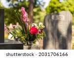 Flowers offered to the grave...