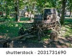 Old Wooden Cart With Wine...