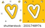 vector cartoon hand drawn heart ...   Shutterstock .eps vector #2031748976