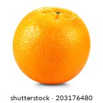 ripe fresh orange on a white... | Shutterstock . vector #203176480