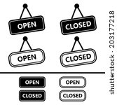open closed sign icons | Shutterstock .eps vector #203177218