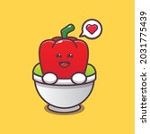 cute paprika in bowl. vegetable ...   Shutterstock .eps vector #2031775439