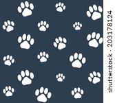seamless monochrome cat paws... | Shutterstock .eps vector #203178124