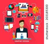 flat design . freelance career. ... | Shutterstock .eps vector #203185300
