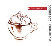 a cup of cappuccino. watercolor ... | Shutterstock .eps vector #203188000