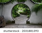 A Moon Gate In The Japanese...