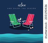 two beach chairs in red and... | Shutterstock .eps vector #203190436