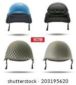 Set Of Military Helmets Vector...