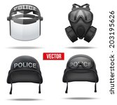 Set Of Police Helmets And Mask...