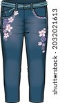 denim with belt and embroidery   Shutterstock .eps vector #2032021613