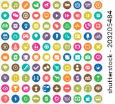 100 entertainment icons | Shutterstock .eps vector #203205484
