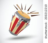 african drum. long drum  ... | Shutterstock .eps vector #203212210