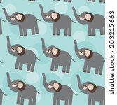 elephant seamless pattern with... | Shutterstock .eps vector #203215663