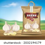 garlic head packaging is placed ...   Shutterstock .eps vector #2032194179