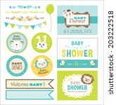 baby arrival and shower... | Shutterstock .eps vector #203222518