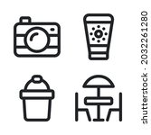 summer holiday icons set  ...