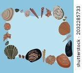 seashells clam  blue background   Shutterstock .eps vector #2032285733