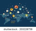 social network vector concept.... | Shutterstock .eps vector #203228758