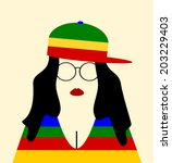 hipster woman wearing colorful... | Shutterstock .eps vector #203229403