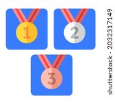 medals for first second third... | Shutterstock .eps vector #2032317149