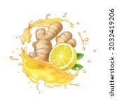 ginger root  citrus and yellow...   Shutterstock .eps vector #2032419206