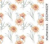 watercolor seamless pattern... | Shutterstock . vector #2032446029