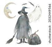 halloween witch  ghost  moon... | Shutterstock . vector #2032449566