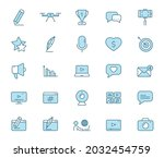 blog line vector icons in two...