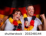 german flag soccer couple fans | Shutterstock . vector #203248144
