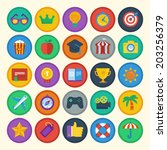 vector flat icons set   bright... | Shutterstock .eps vector #203256379