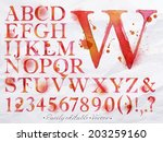 Alphabet Set Drawn Watercolor...
