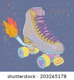 illustration with retro roller... | Shutterstock .eps vector #203265178