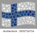 mosaic waving finland flag... | Shutterstock .eps vector #2032716716