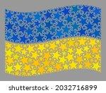 mosaic waving ukraine flag... | Shutterstock .eps vector #2032716899