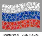 mosaic waving russia flag... | Shutterstock .eps vector #2032716923