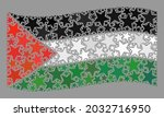 mosaic waving palestine flag... | Shutterstock .eps vector #2032716950