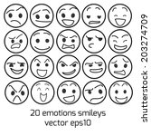 emotions and smileys vector... | Shutterstock .eps vector #203274709