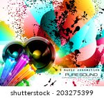 party club flyer for music... | Shutterstock .eps vector #203275399