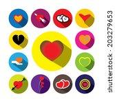 flat design colorful heart... | Shutterstock .eps vector #203279653