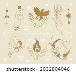 magic hands set  occult symbols ...   Shutterstock .eps vector #2032804046