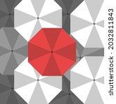 unique red umbrella standing... | Shutterstock .eps vector #2032811843