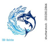 vector jumping tuna fish... | Shutterstock .eps vector #2032812866