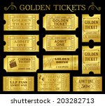 set of eleven golden vector... | Shutterstock .eps vector #203282713